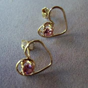 Sterling Silver Heart Stud Earring with Gemstone!!!